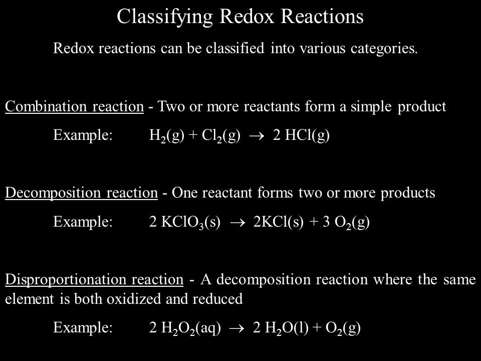 Classifying Redox Reactions