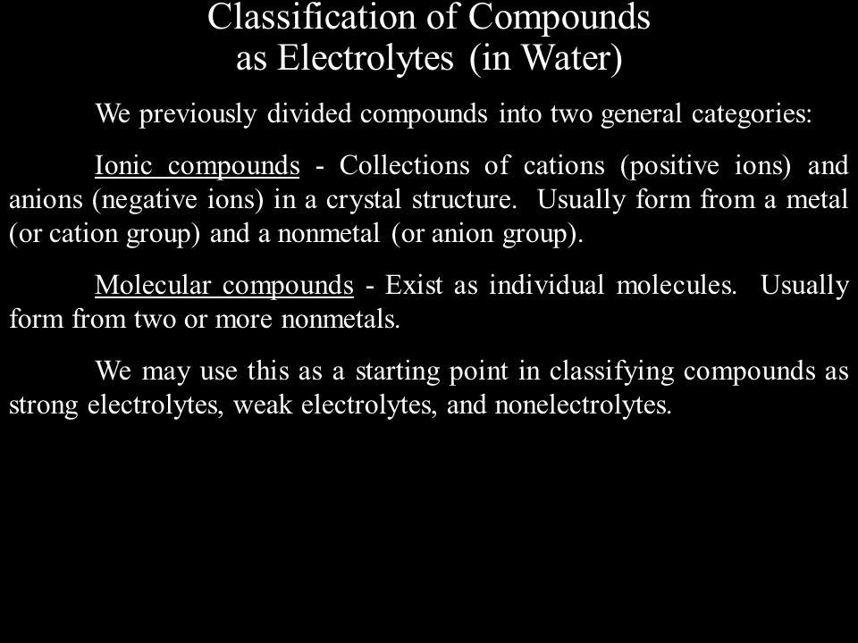 Classification of Compounds as Electrolytes (in Water)