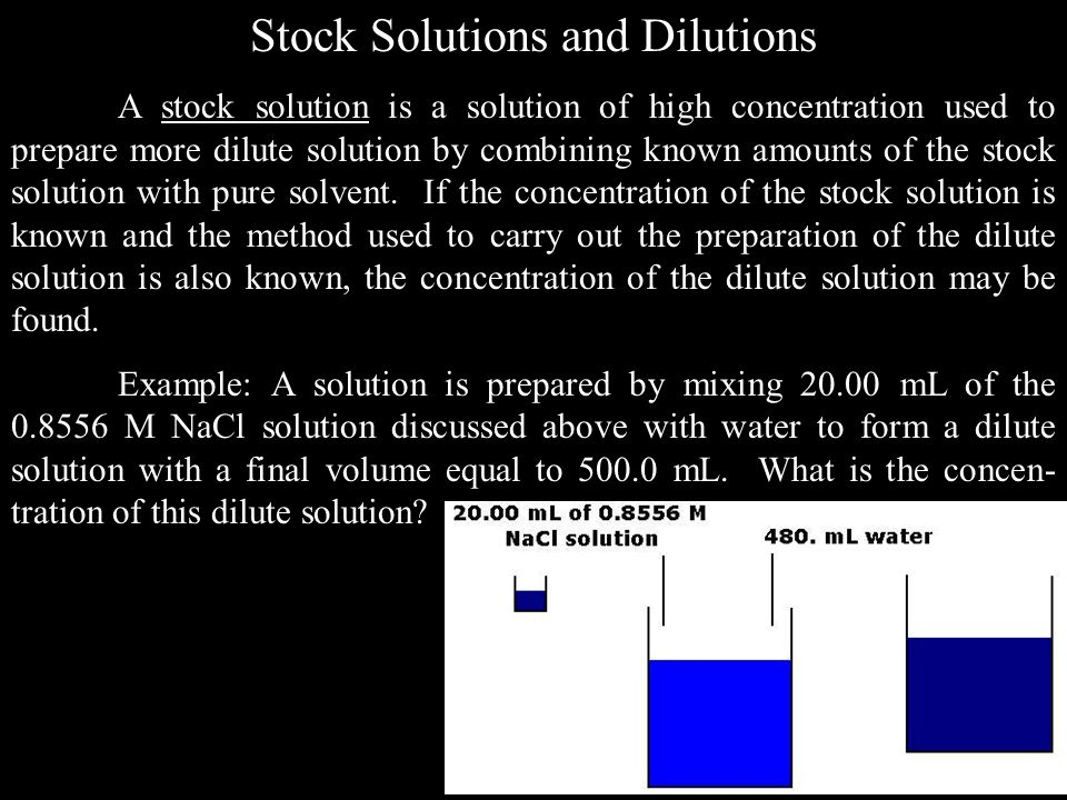 Stock Solutions and Dilutions