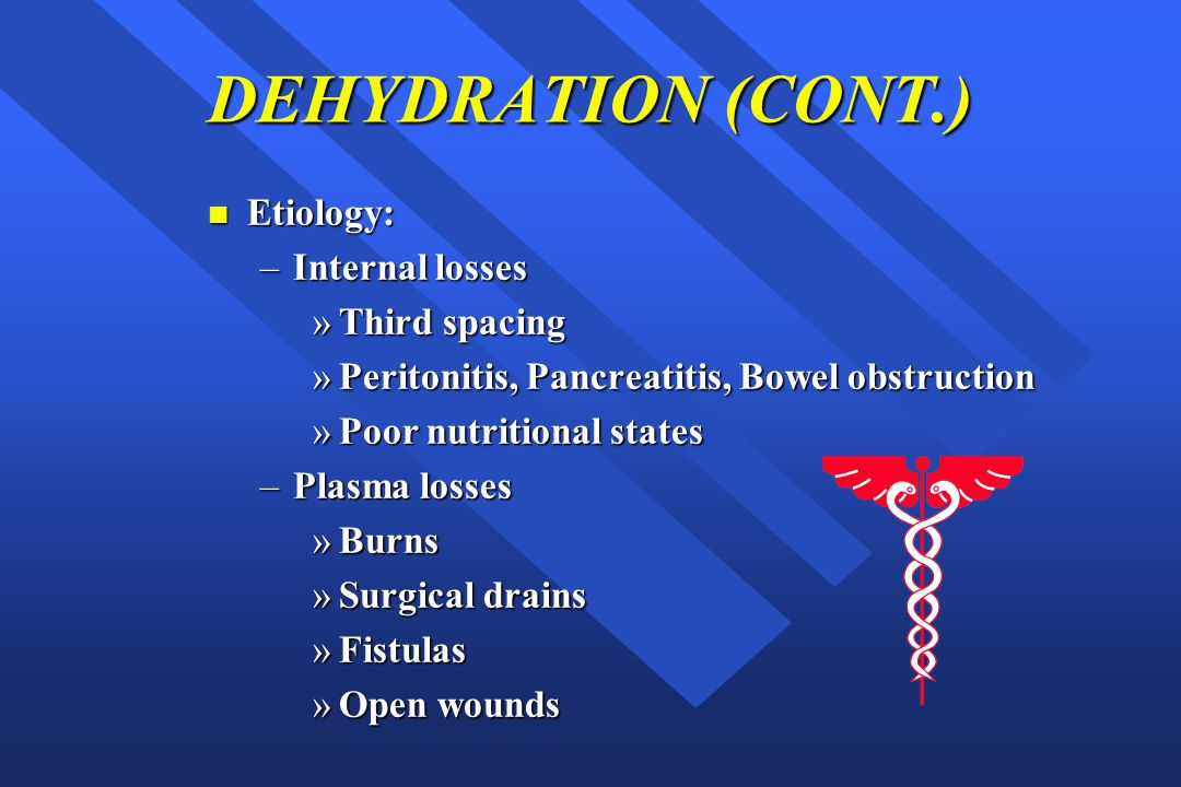DEHYDRATION (CONT.) Etiology: Internal losses Third spacing