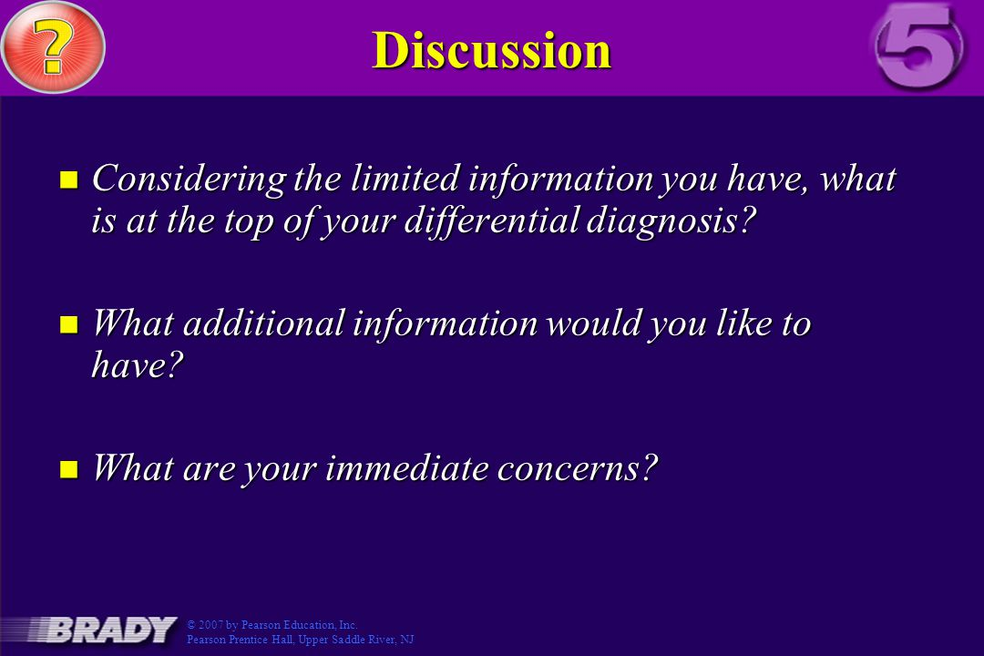 Discussion Considering the limited information you have, what is at the top of your differential diagnosis