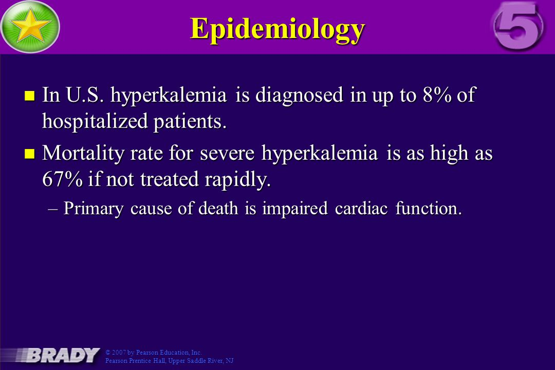 Epidemiology In U.S. hyperkalemia is diagnosed in up to 8% of hospitalized patients.