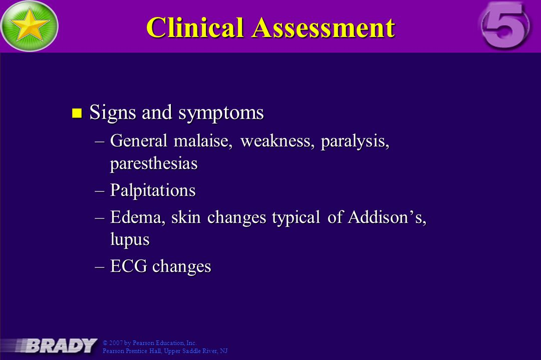Clinical Assessment Signs and symptoms
