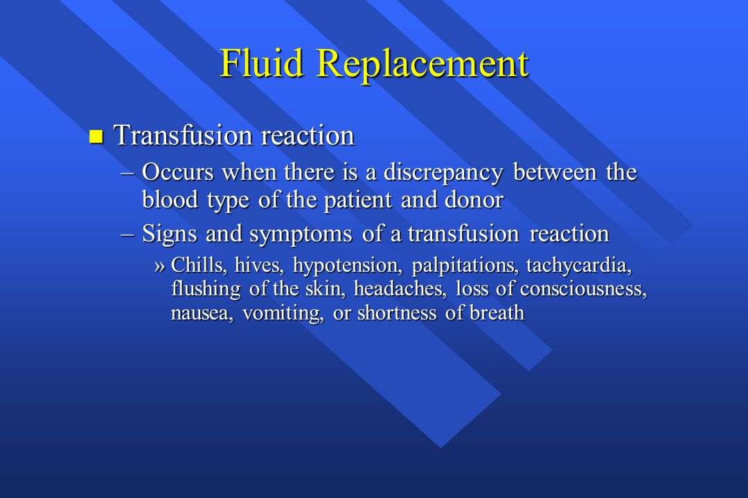 Fluid Replacement Transfusion reaction