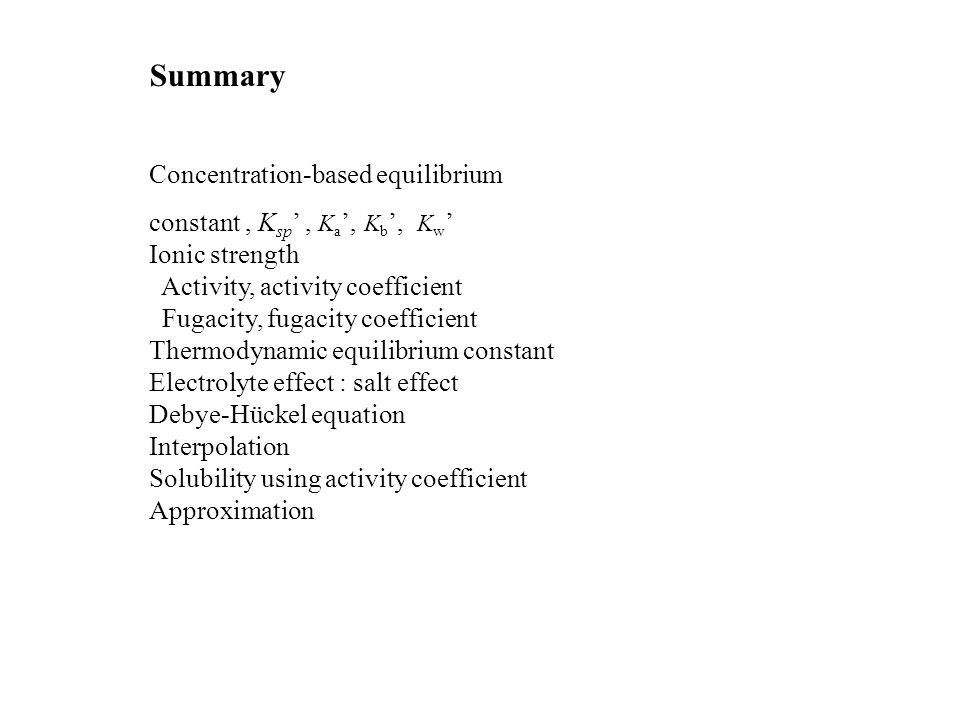 Summary Concentration-based equilibrium