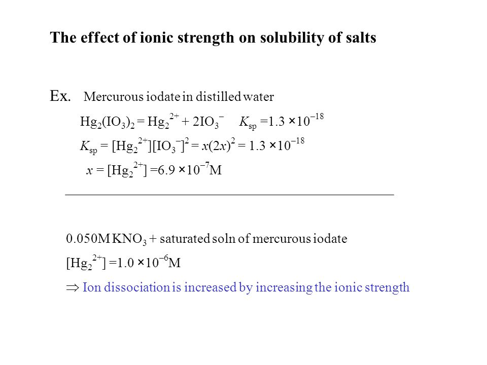 The effect of ionic strength on solubility of salts