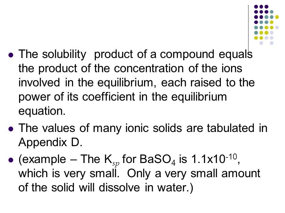 The solubility product of a compound equals the product of the concentration of the ions involved in the equilibrium, each raised to the power of its coefficient in the equilibrium equation.