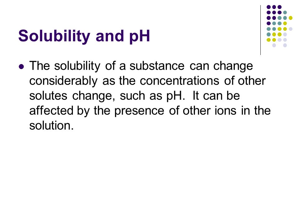 Solubility and pH