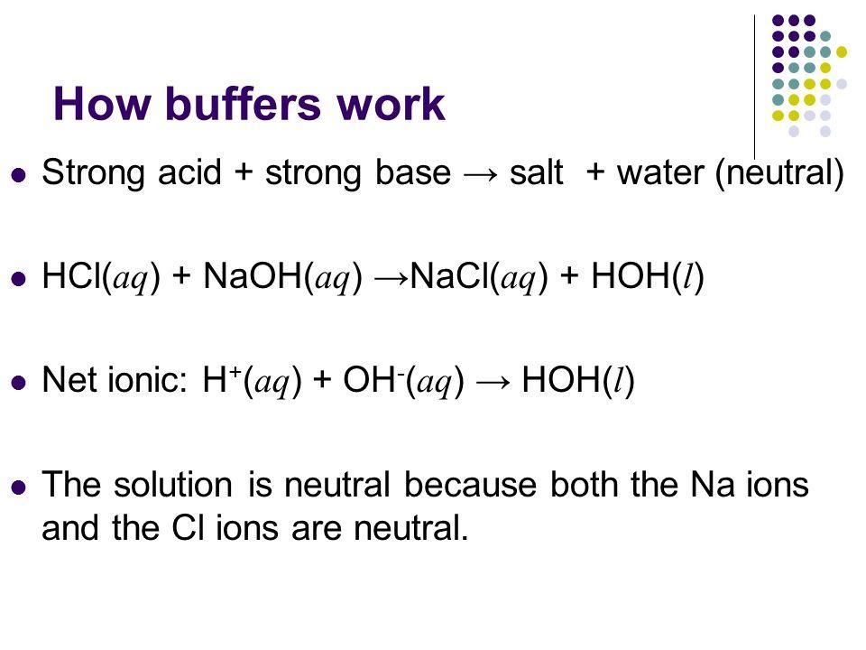 How buffers work Strong acid + strong base → salt + water (neutral)