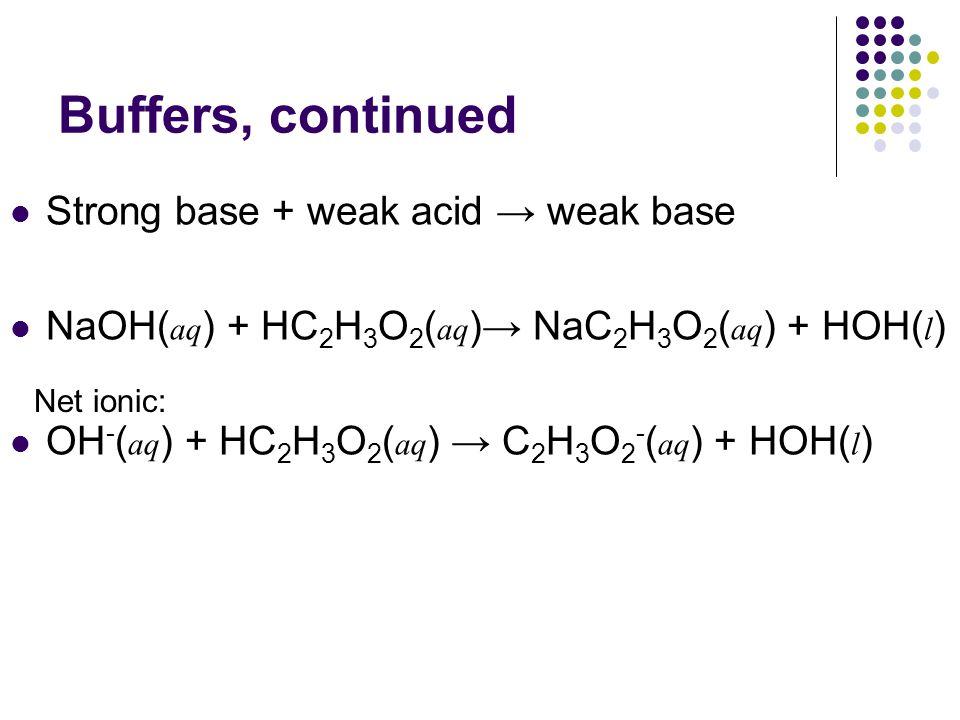 Buffers, continued Strong base + weak acid → weak base