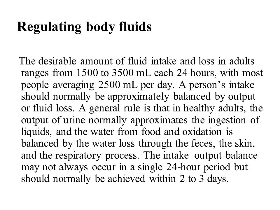 Regulating body fluids