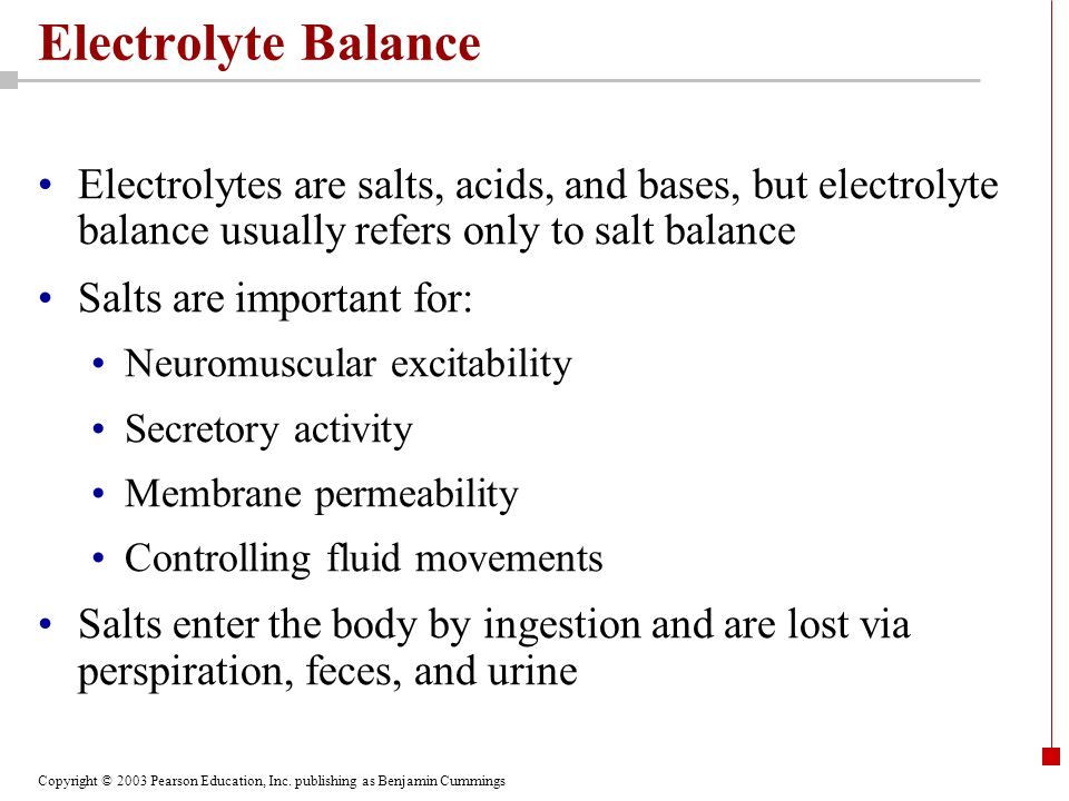Electrolyte Balance Electrolytes are salts, acids, and bases, but electrolyte balance usually refers only to salt balance.