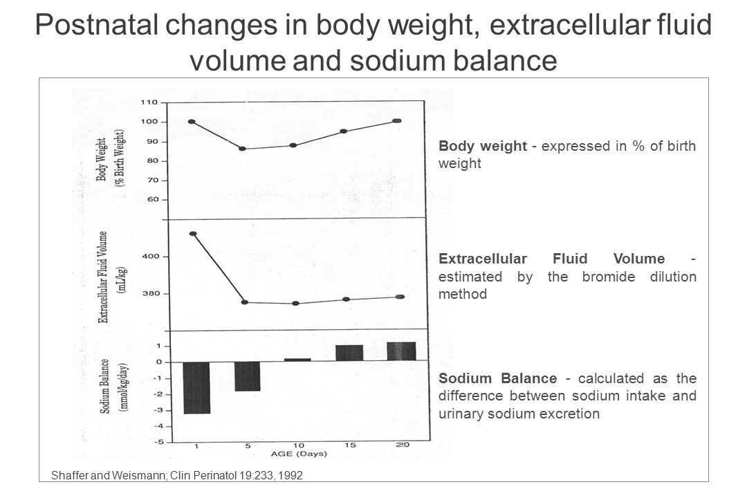 Postnatal changes in body weight, extracellular fluid volume and sodium balance