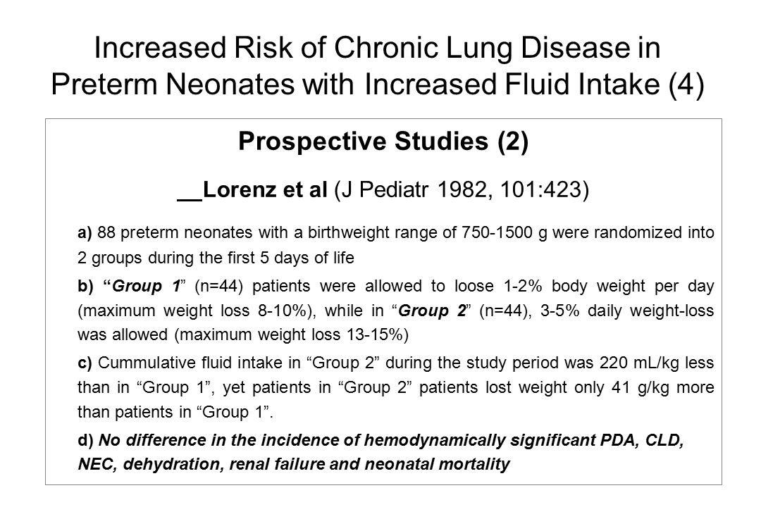 Increased Risk of Chronic Lung Disease in Preterm Neonates with Increased Fluid Intake (4)