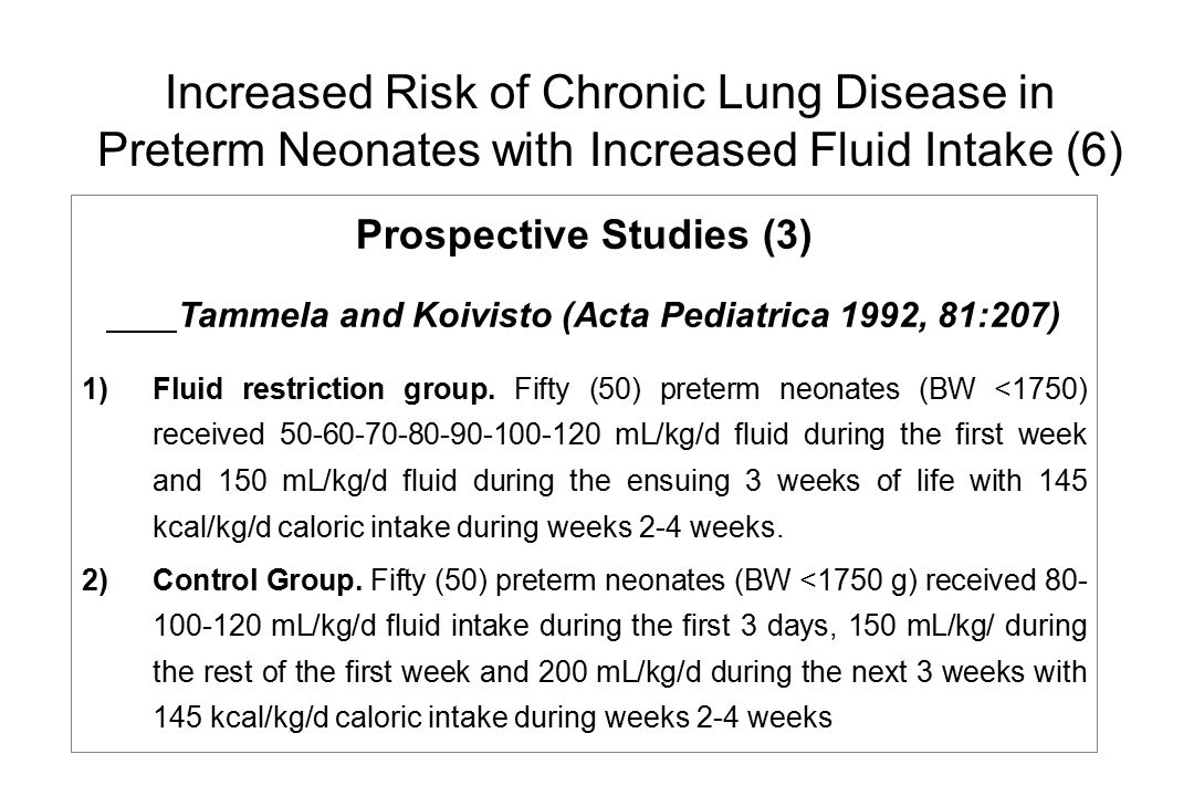 Increased Risk of Chronic Lung Disease in Preterm Neonates with Increased Fluid Intake (6)