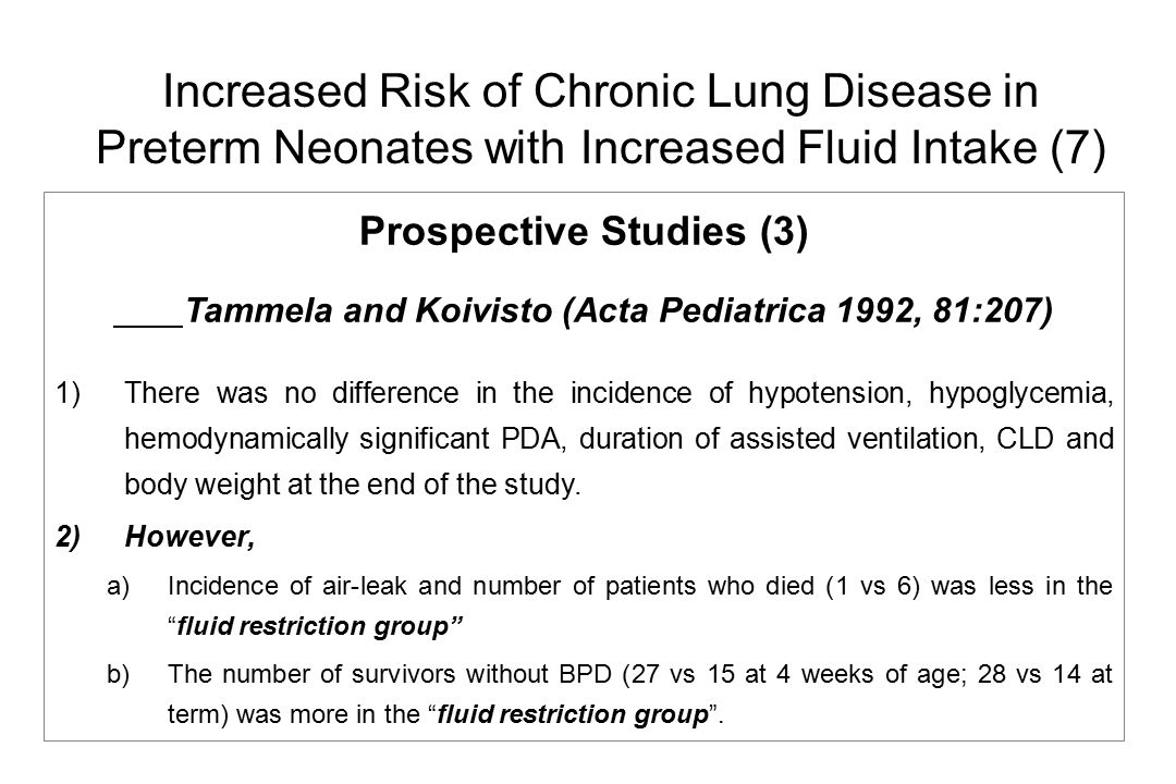 Increased Risk of Chronic Lung Disease in Preterm Neonates with Increased Fluid Intake (7)