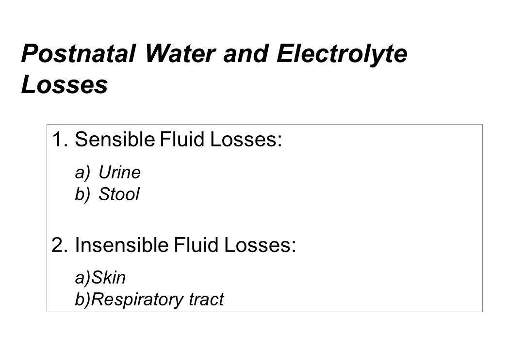 Postnatal Water and Electrolyte Losses