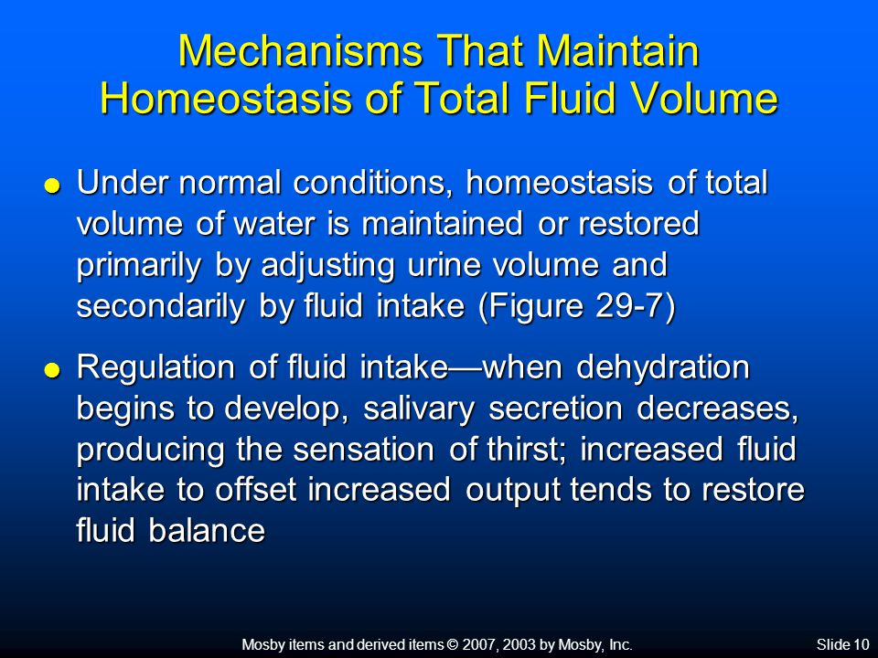 Mechanisms That Maintain Homeostasis of Total Fluid Volume