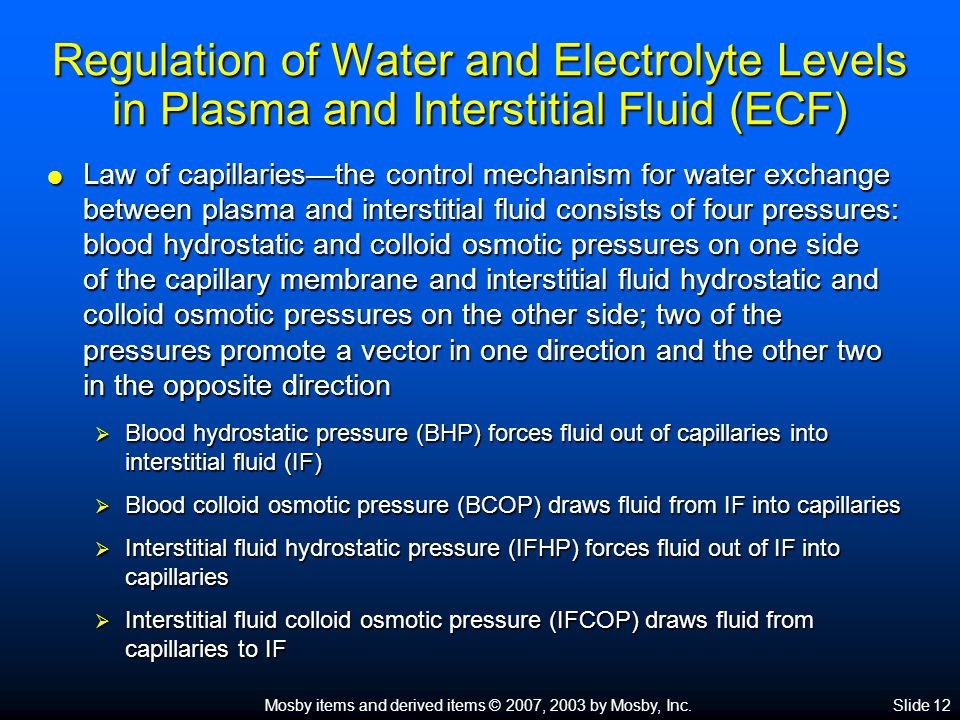 Regulation of Water and Electrolyte Levels in Plasma and Interstitial Fluid (ECF)