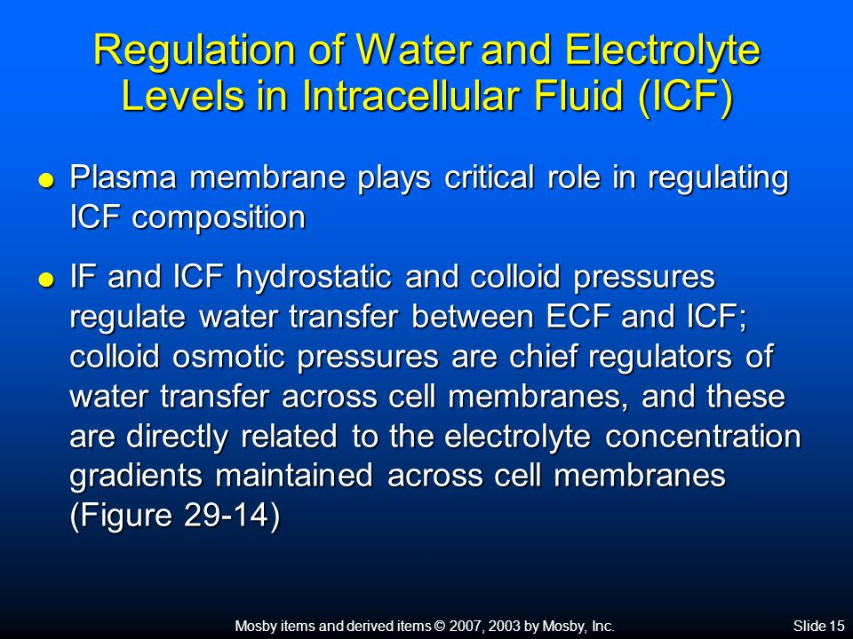 Regulation of Water and Electrolyte Levels in Intracellular Fluid (ICF)
