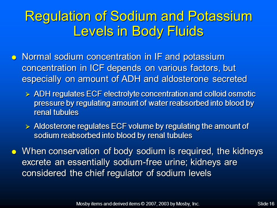 Regulation of Sodium and Potassium Levels in Body Fluids