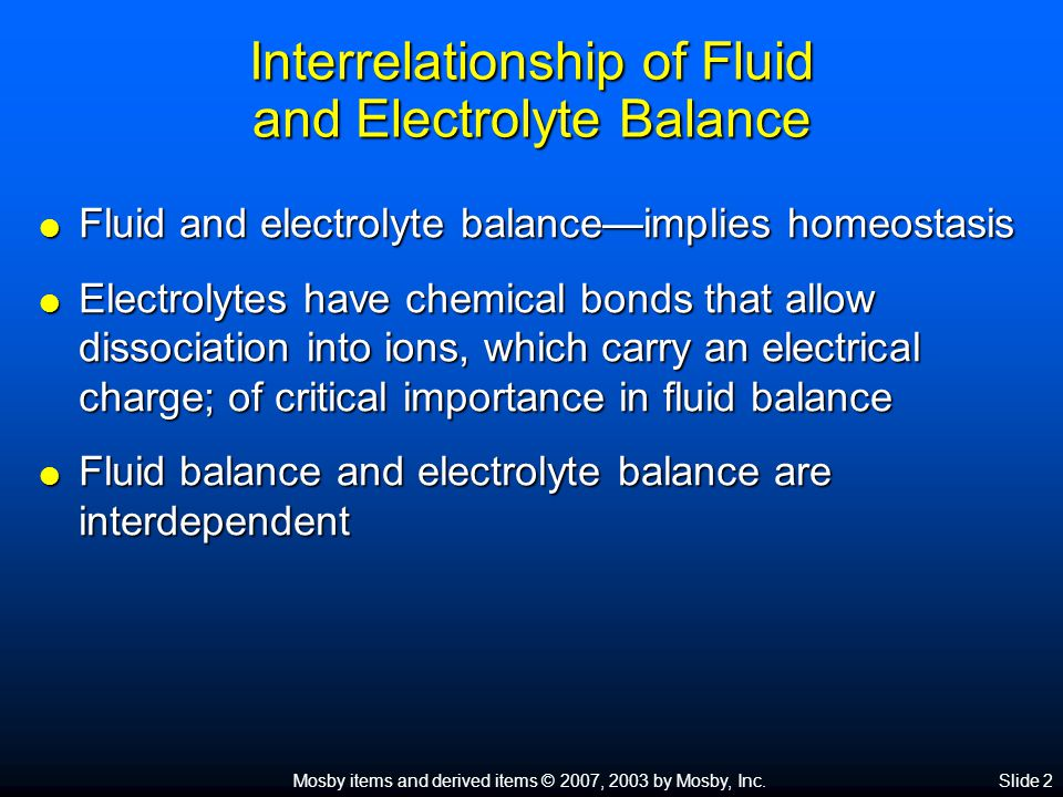 Interrelationship of Fluid and Electrolyte Balance