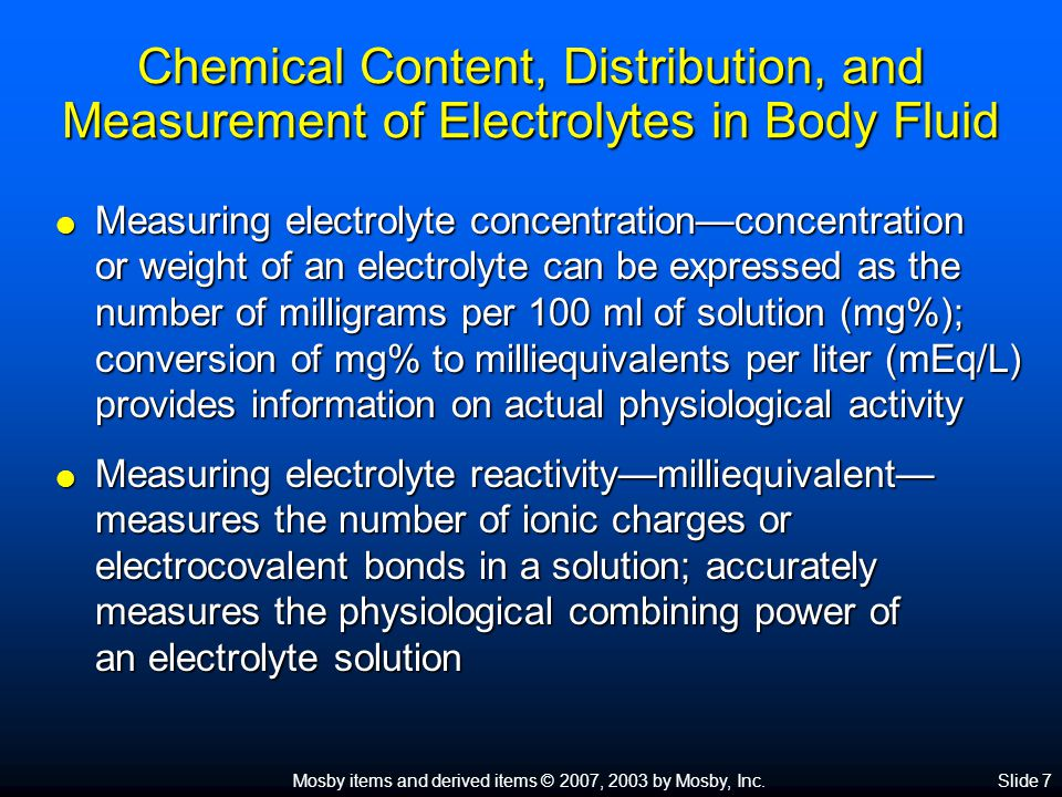 Chemical Content, Distribution, and Measurement of Electrolytes in Body Fluid