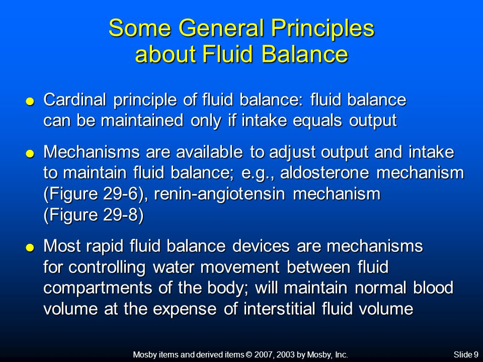 Some General Principles about Fluid Balance