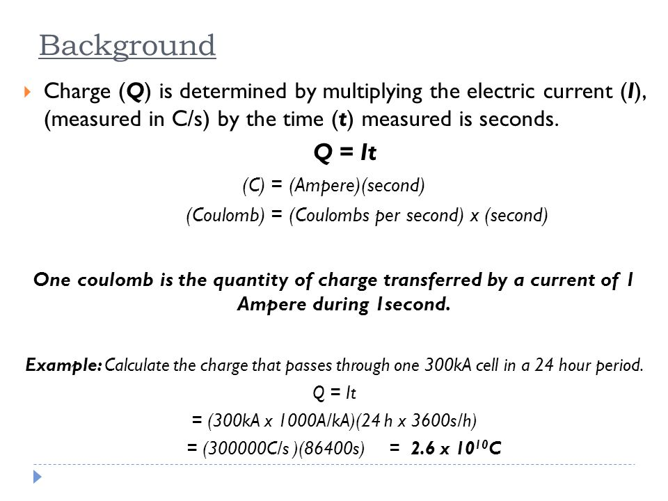 Background Charge (Q) is determined by multiplying the electric current (I), (measured in C/s) by the time (t) measured is seconds.