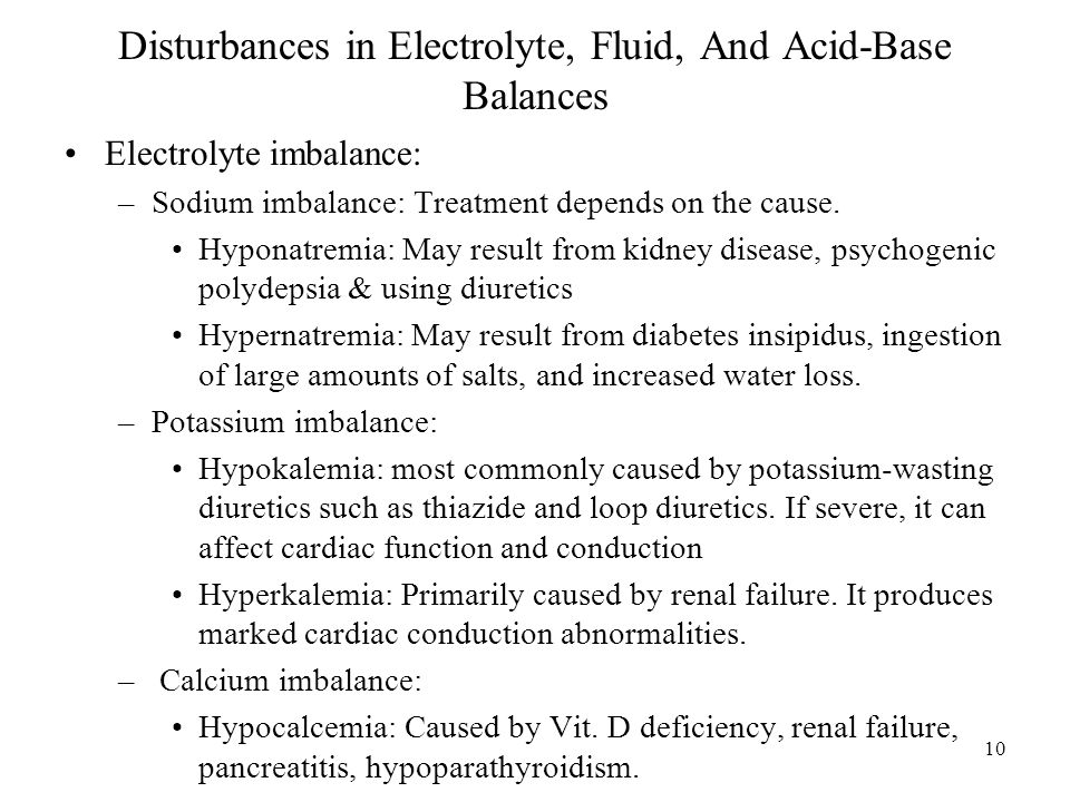 Disturbances in Electrolyte, Fluid, And Acid-Base Balances