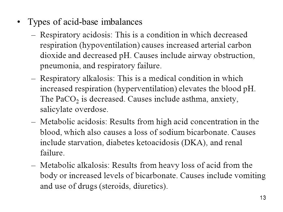 Types of acid-base imbalances