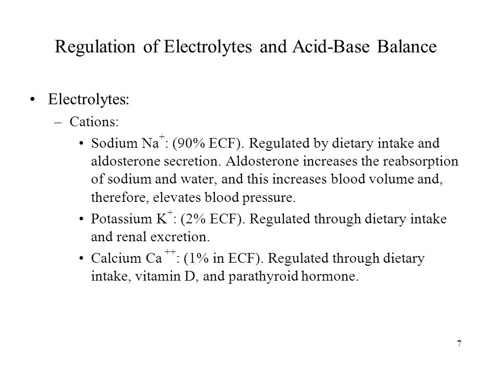 Regulation of Electrolytes and Acid-Base Balance