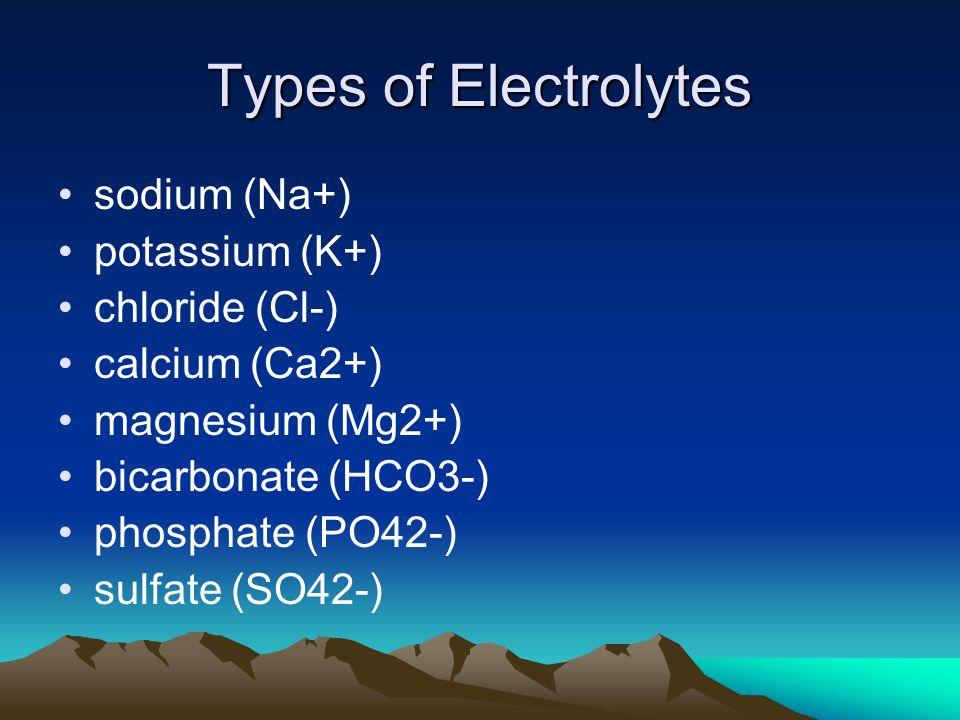 Types of Electrolytes sodium (Na+) potassium (K+) chloride (Cl-)