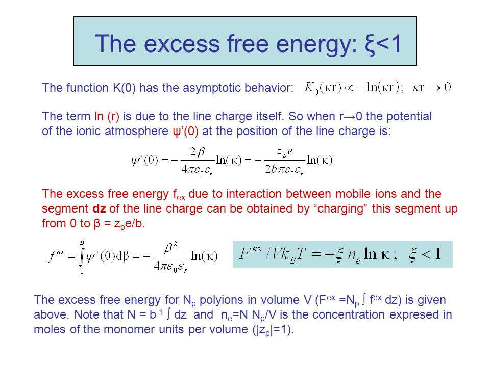 The excess free energy: ξ<1