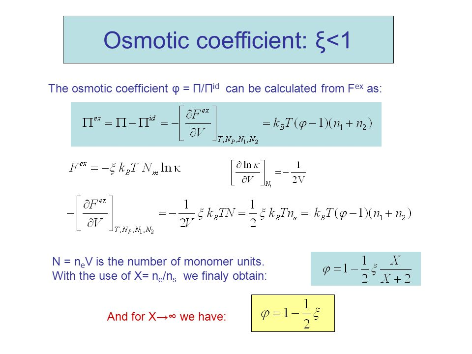 Osmotic coefficient: ξ<1