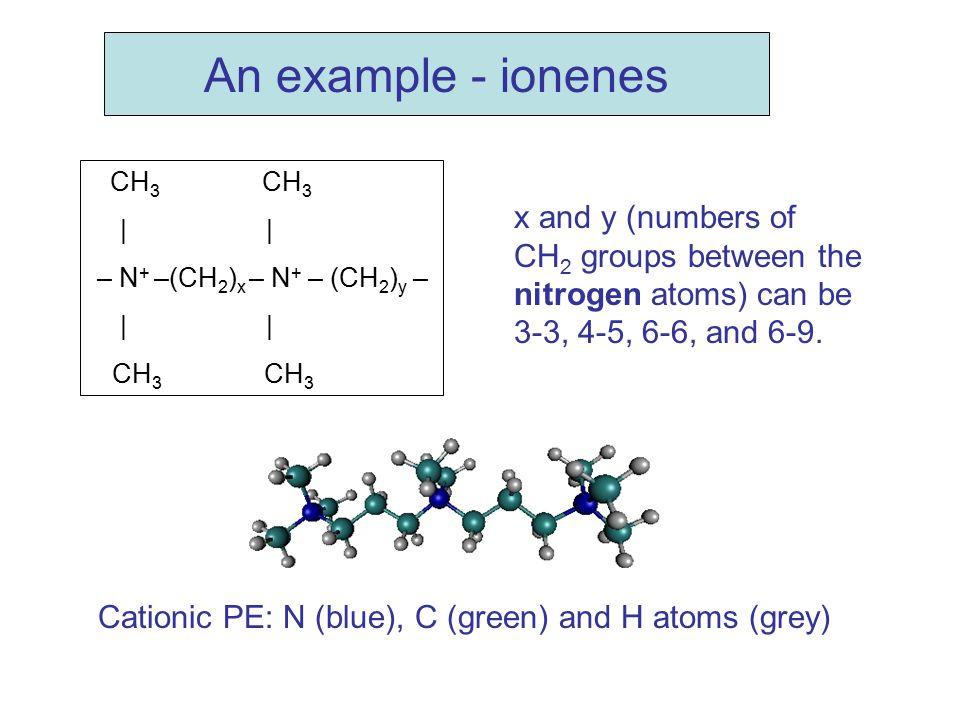 An example - ionenes CH3 CH3. | | – N+ –(CH2)x – N+ – (CH2)y –