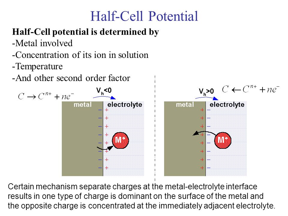 Half-Cell Potential Half-Cell potential is determined by