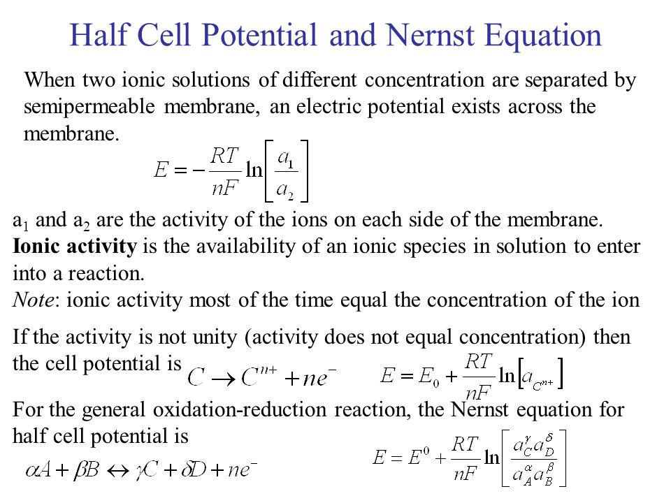 Half Cell Potential and Nernst Equation