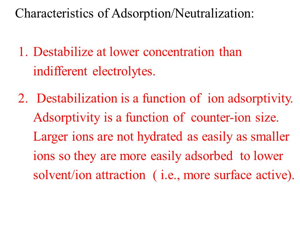 Characteristics of Adsorption/Neutralization: