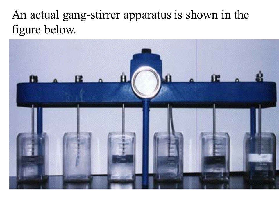 An actual gang-stirrer apparatus is shown in the figure below.