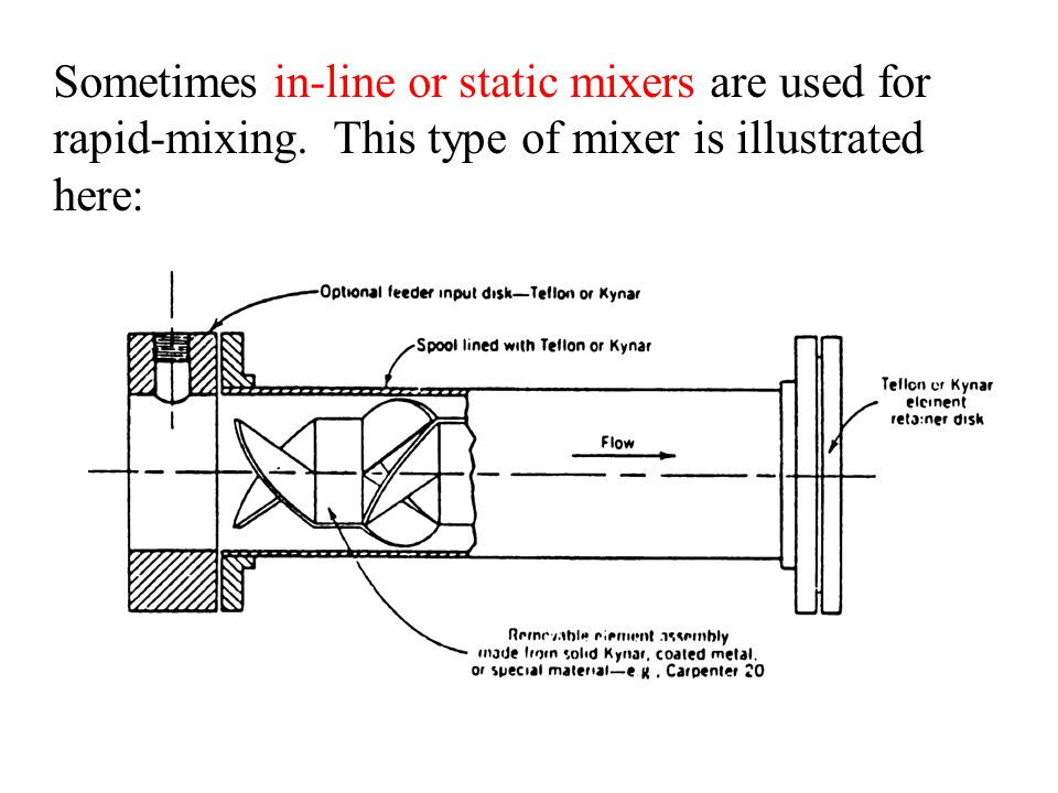 Sometimes in-line or static mixers are used for rapid-mixing