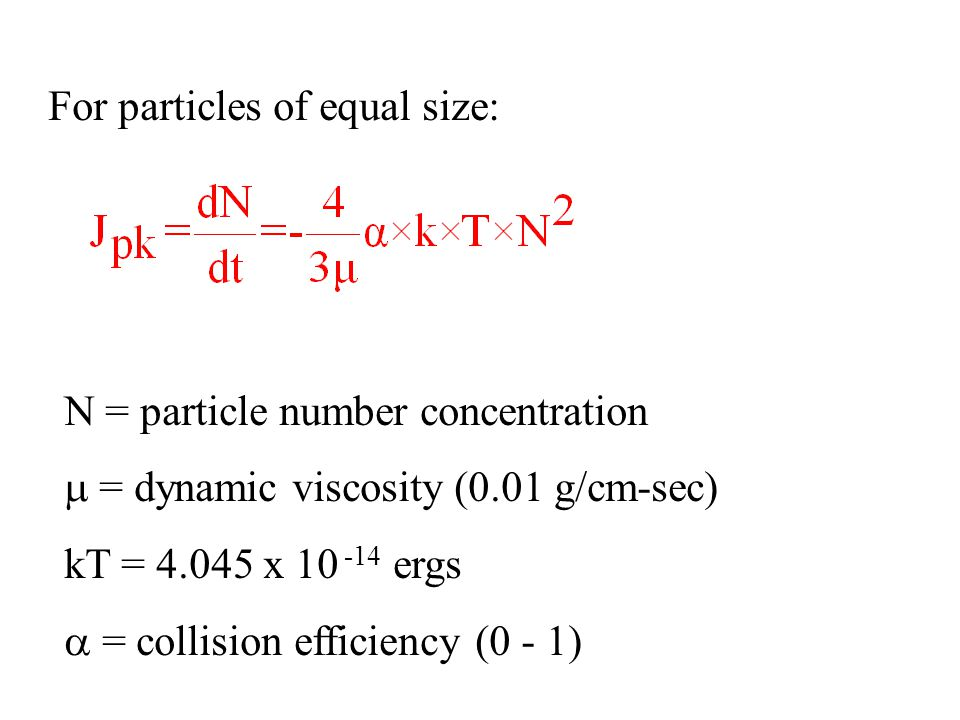 For particles of equal size: