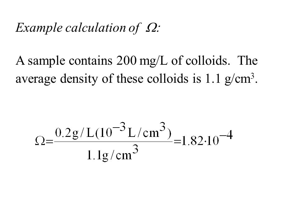 Example calculation of W: