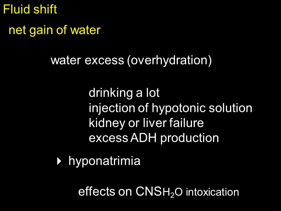 Fluid shift net gain of water. water excess (overhydration) drinking a lot. injection of hypotonic solution.