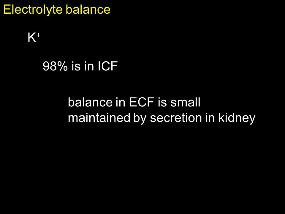 Electrolyte balance K+ 98% is in ICF balance in ECF is small maintained by secretion in kidney