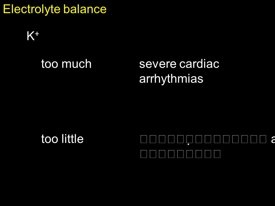 Electrolyte balance K+ too much severe cardiac arrhythmias too little  and 