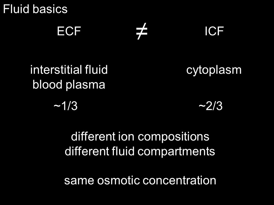 ≠ Fluid basics ECF ICF interstitial fluid blood plasma cytoplasm ~1/3