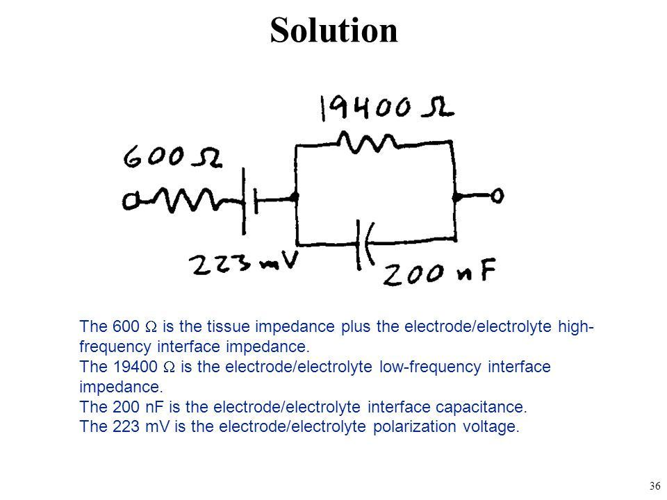 Solution The 600 W is the tissue impedance plus the electrode/electrolyte high-frequency interface impedance.