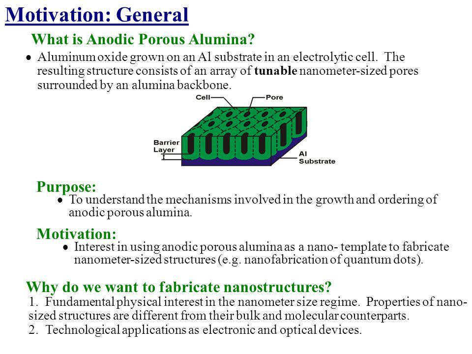 Motivation: General What is Anodic Porous Alumina Purpose: