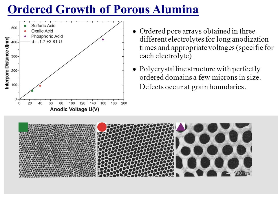 Ordered Growth of Porous Alumina
